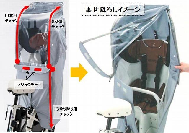 ビッケ専用レインカバー乗り降りイメージ